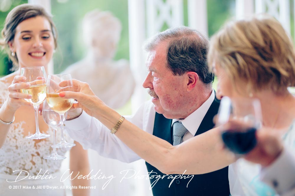 Marlfield House Wedding Cheers after speeches at Marfield house Wedding