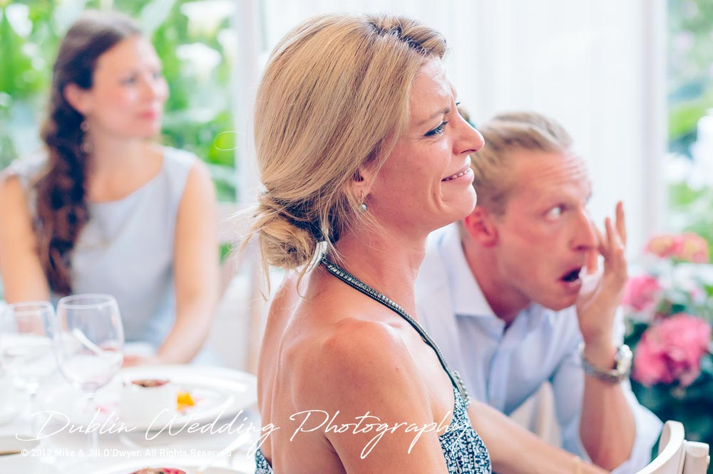 Marlfield House Wedding Guests Reaction At Wedding Speeches at marfield house