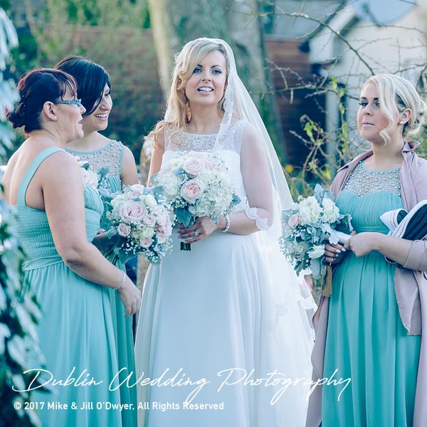 Clonabreany House Wedding Bridesmaids at gate