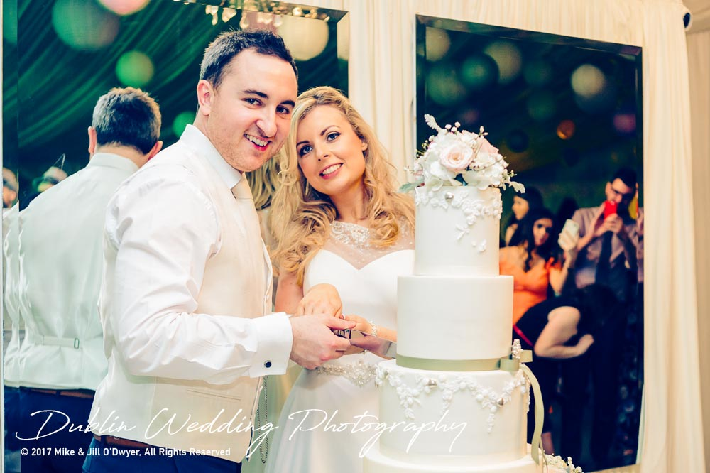 Cutting The Wedding cake at Clonabreany House