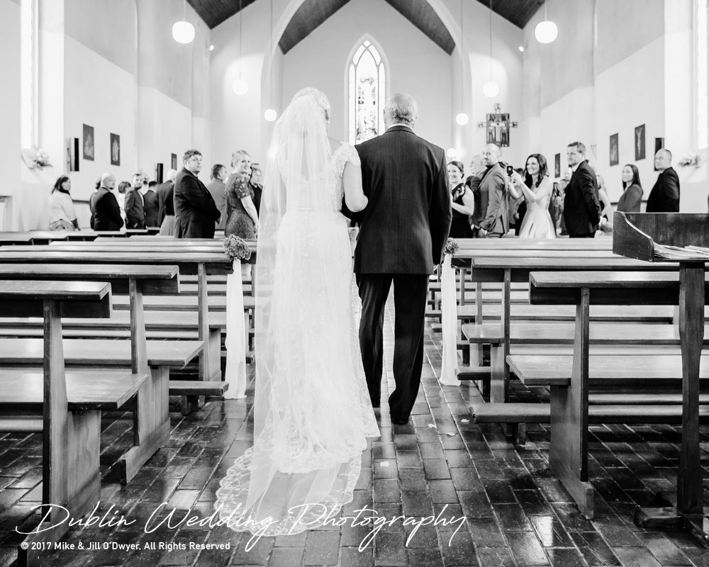Wedding Photographer carlow Father of the Bride and Bride Walking up the Aisle