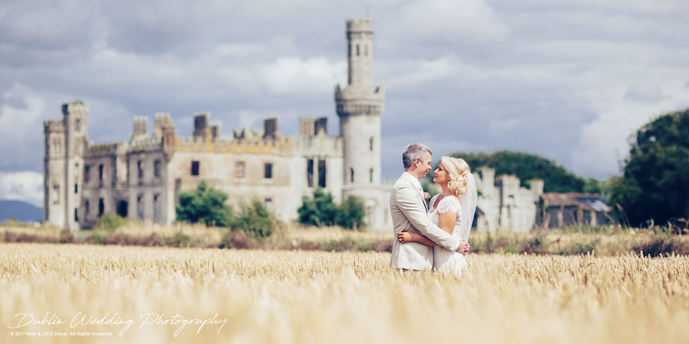 Wedding Photographer Ducketts Grove Bride and Groom in a Field of Wheat