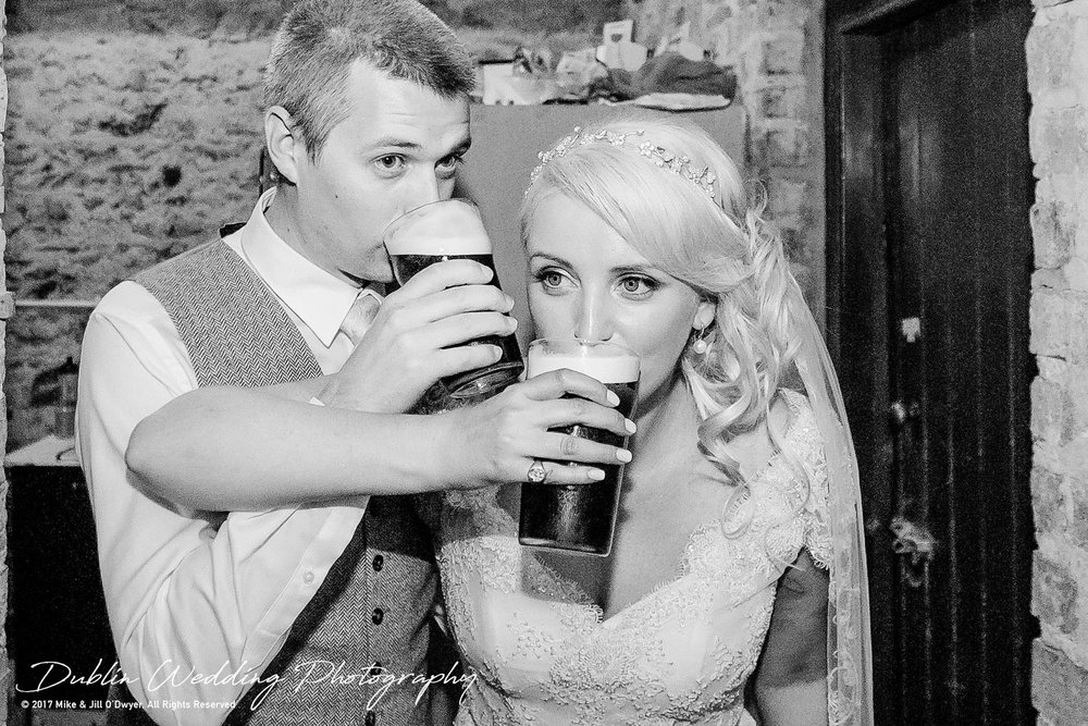 Wedding Photographer Trudder Lodge Bride & Groom with Pints