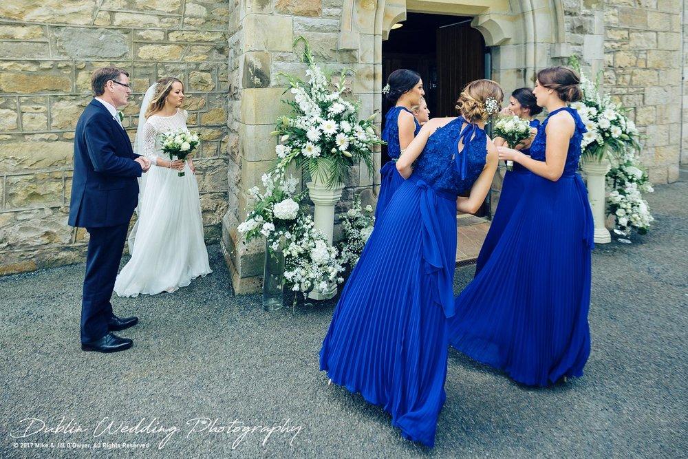 Wedding Photographer Dublin Castle Leslie Bride & Bridesmaids outside Church