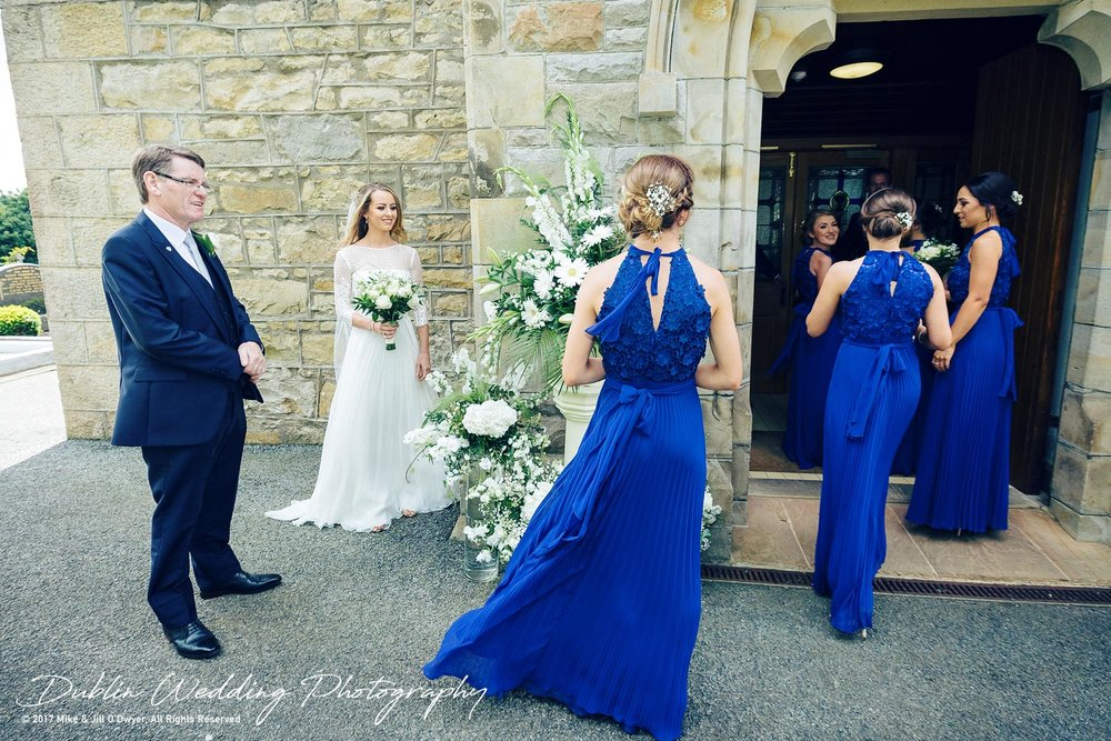 Wedding Photographer Dublin Castle Leslie Bride & Bridesmaids entering Church