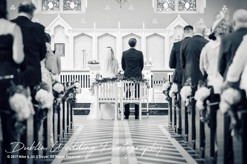 Wedding Photographer Dublin Castle Leslie Bride and Groom at top of the aisle