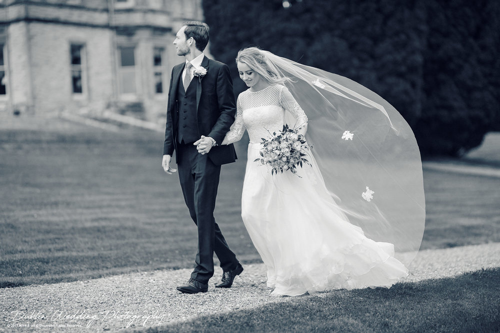 Wedding Photography Castle Leslie Bride and Groom walking