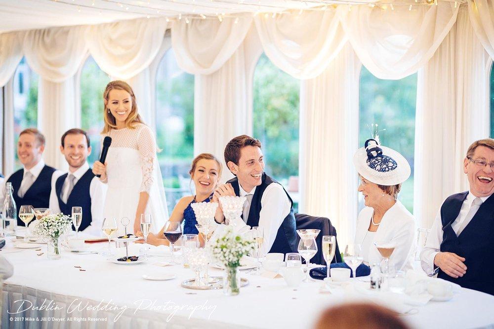 Dublin Wedding Photography Castle Leslie Bride's Speech Reaction