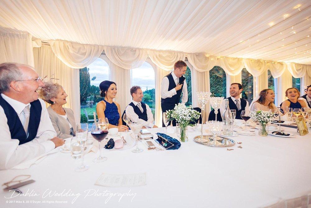 Dublin Wedding Photography Castle Leslie Top Table Speech