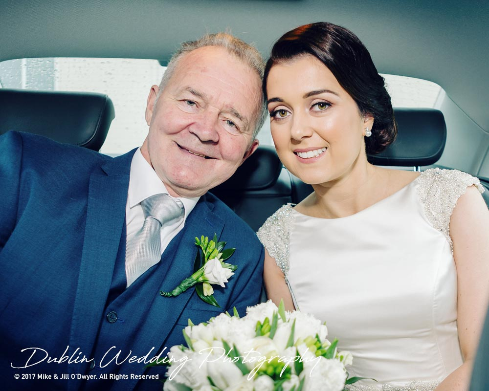 Castle Durrow Wedding Photographer County Wicklow Church Bride & Father in car