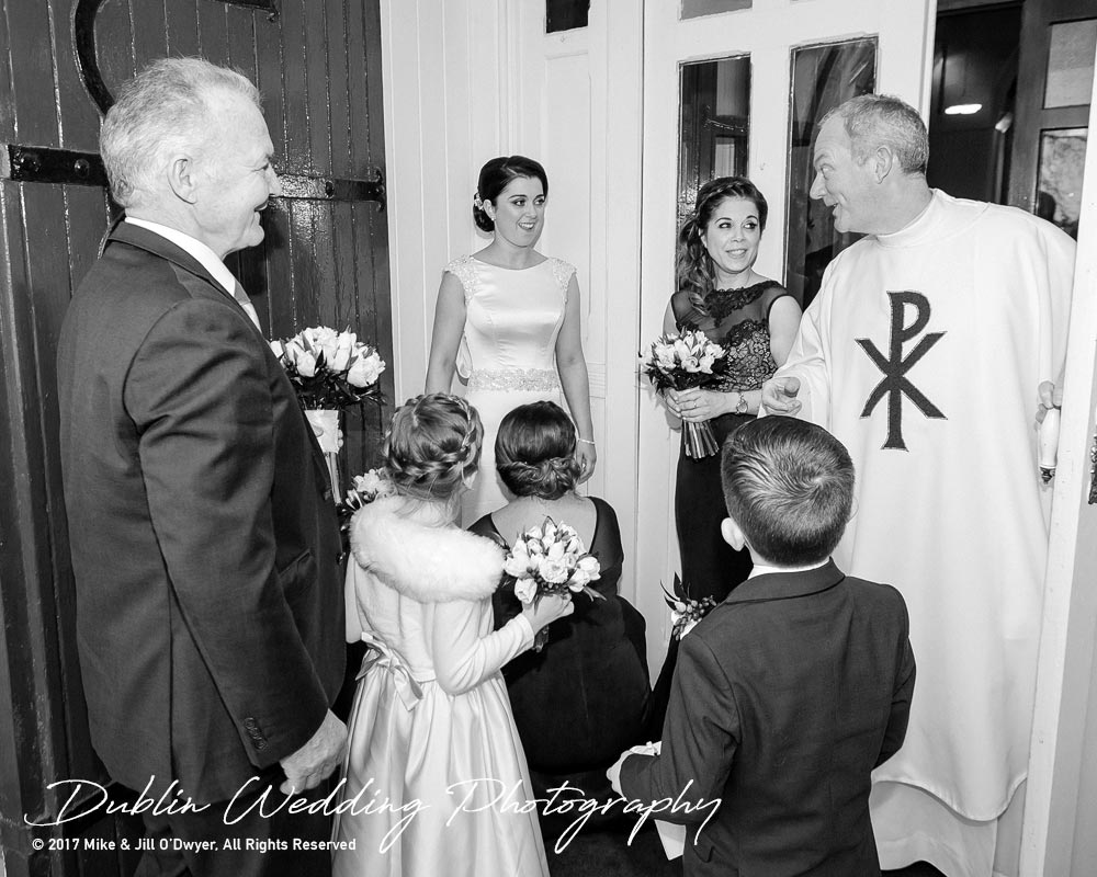 Castle Durrow Wedding Photographer County Wicklow Church Bride and father With Priest