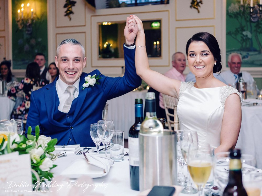 Castle Durrow Wedding Photographer County Laois Speeches Bride & Groom Saluting