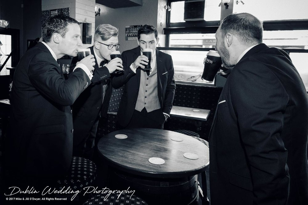 Tinakilly House Wedding Photographer: All the boys in Pub