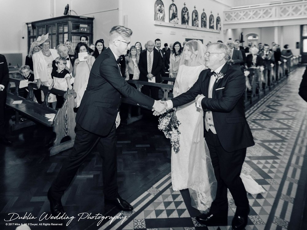 Tinakilly House Wedding Photographer: Bride & Father Meeting Groom