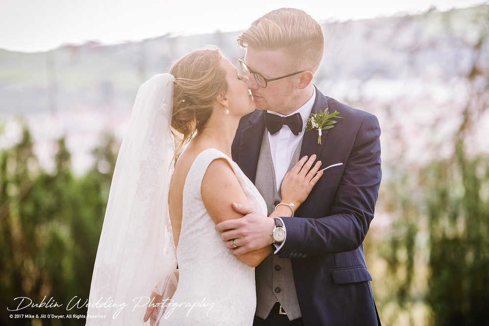 Tinakilly House Wedding Photographer: Bride & Groom Kissing