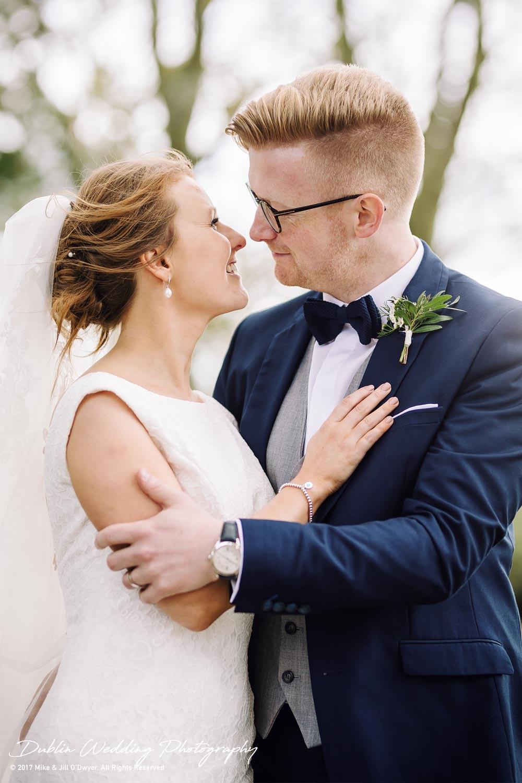 Tinakilly House Wedding Photographer: Bride & Groom Holding each other