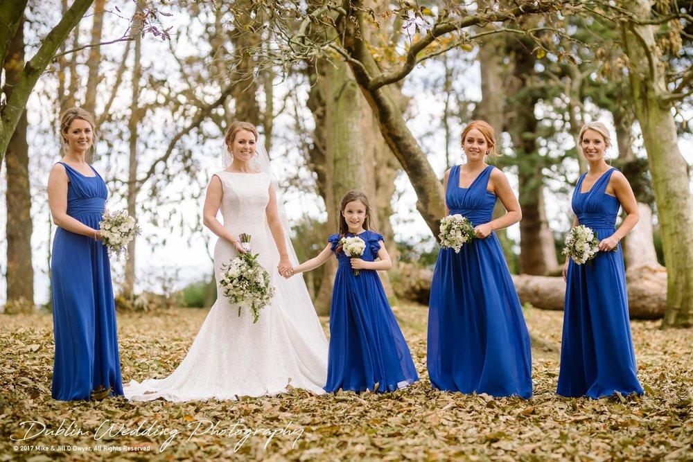 Tinakilly House Wedding Photographer: Bride & Bridesmaids in Garden