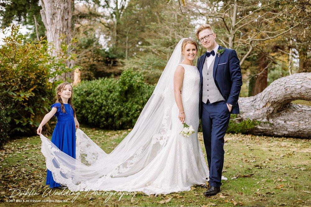 Tinakilly House Wedding Photographer: Bride & Groom and Flower Girl