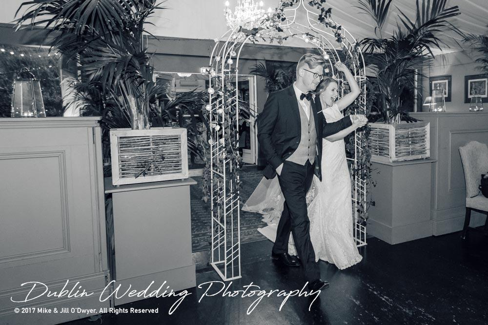Tinakilly House Wedding Photographer: Bride and Groom Reception Entrance