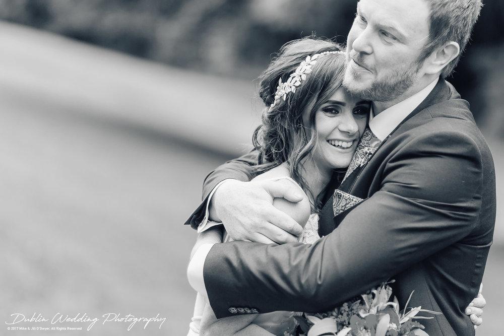 Moyvalley, Balyna House Wedding Photographer: Bride & Groom Hugging