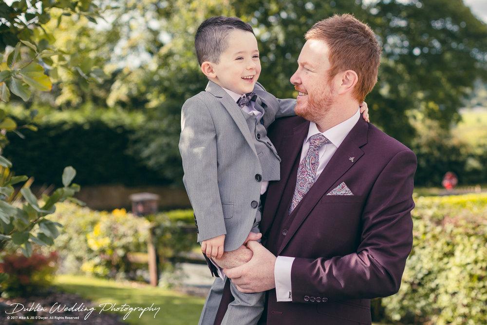 Moyvalley, Balyna House, Wedding Photographer, Kildare, Dublin, Groom and his son.