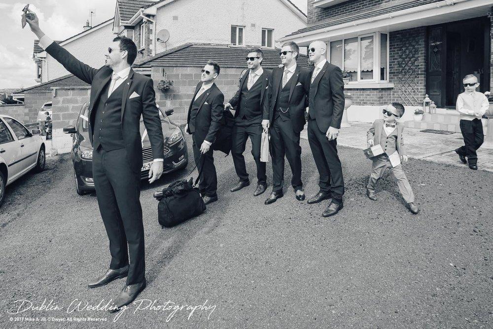 Moyvalley, Balyna House, Wedding Photographer, Kildare, Dublin, Grom and Groomsmen Selfie