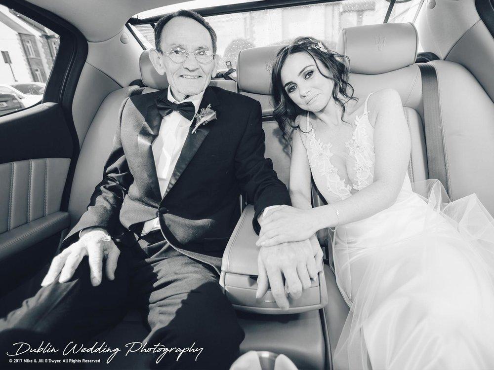Moyvalley, Balyna House, Wedding Photographer, Kildare, Dublin, Bride & father in Car