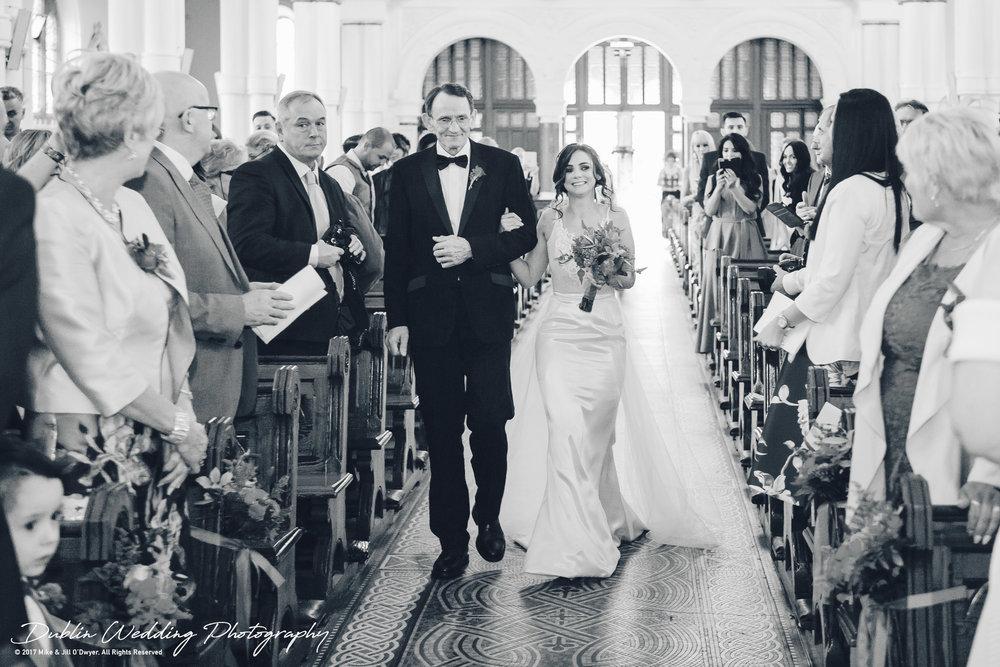 Moyvalley, Balyna House, Wedding Photographer, Kildare, Dublin, father walking Bride up the Church Aisle