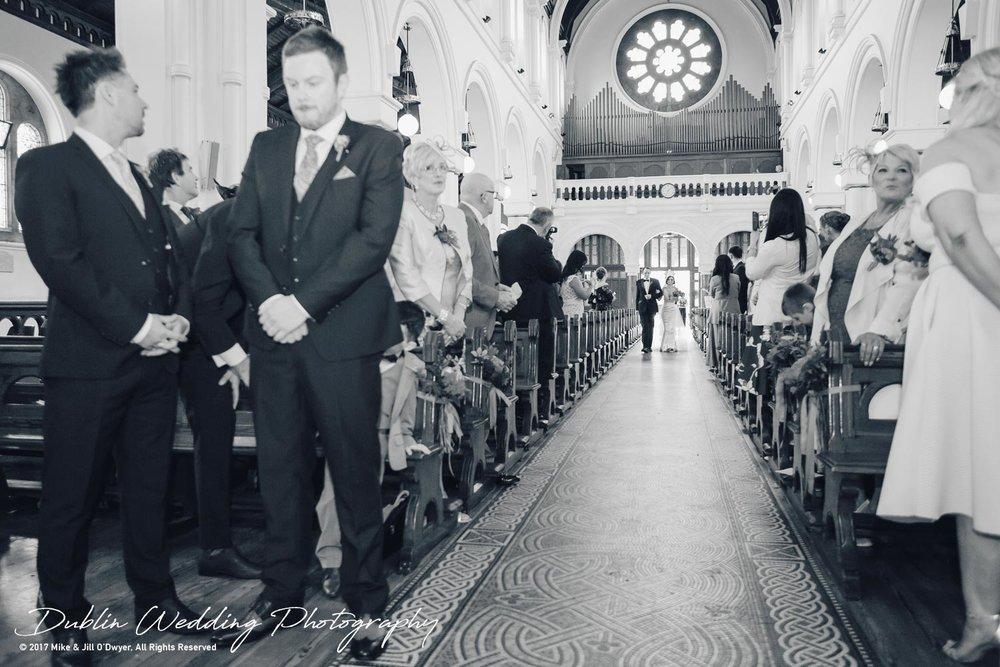 Moyvalley, Balyna House, Wedding Photographer, Kildare, Dublin, Bride & Father walking to Groom