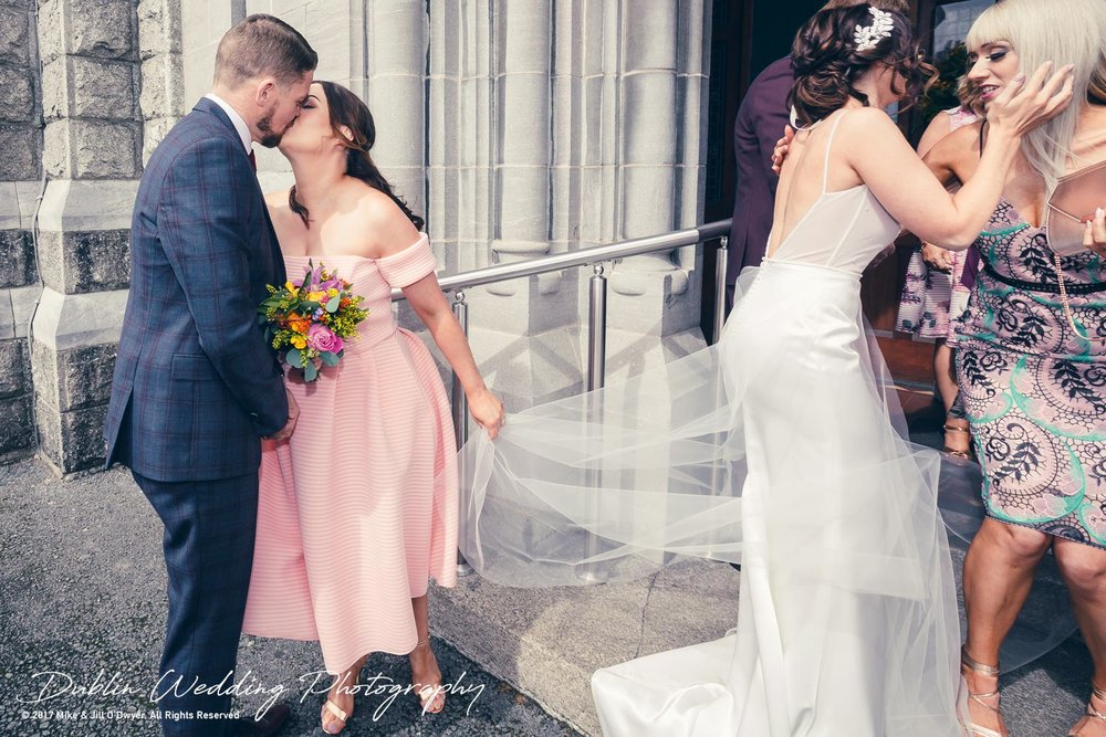 Moyvalley, Balyna House, Wedding Photographer, Kildare, Dublin, Bridesmaid Kissing