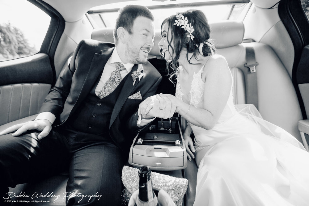 Moyvalley, Balyna House, Wedding Photographer, Kildare, Dublin, Bride & Groom in Car