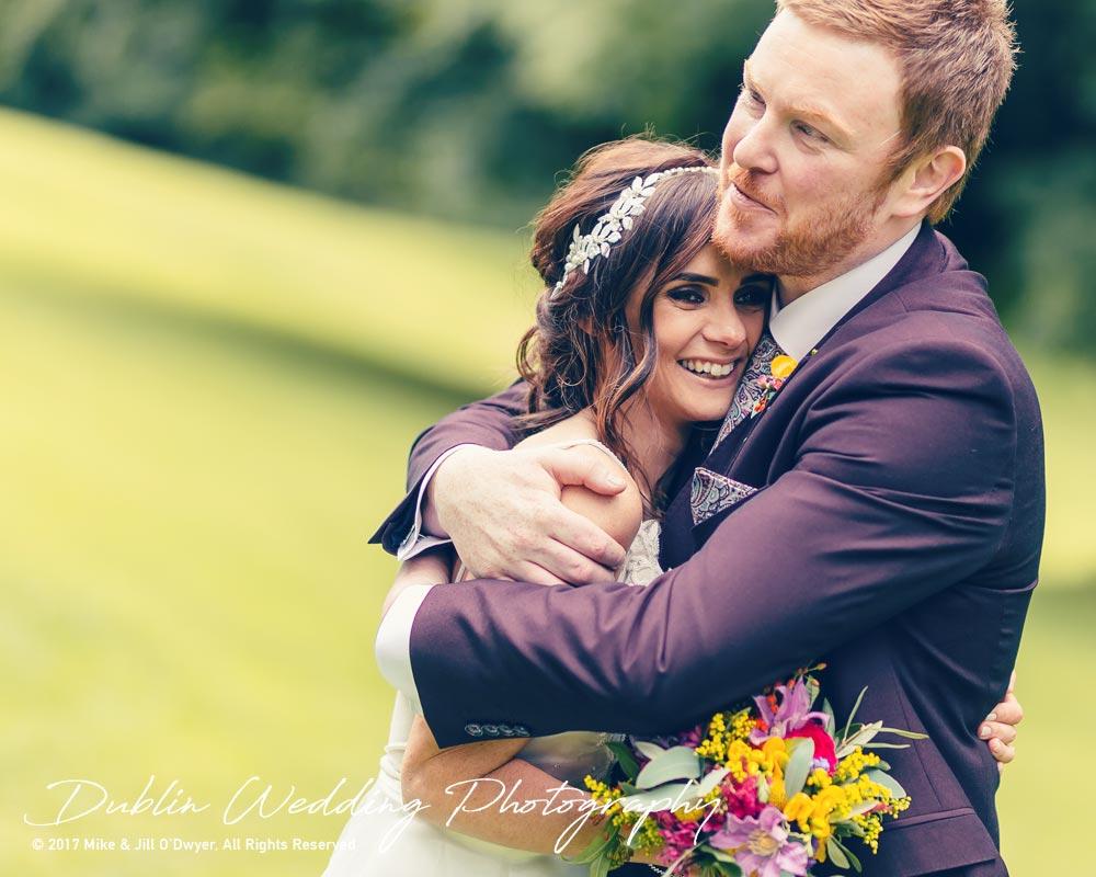 Moyvalley, Balyna House, Wedding Photographer, Kildare, Dublin, Beautiful Bride & Handsome Groom Hugging