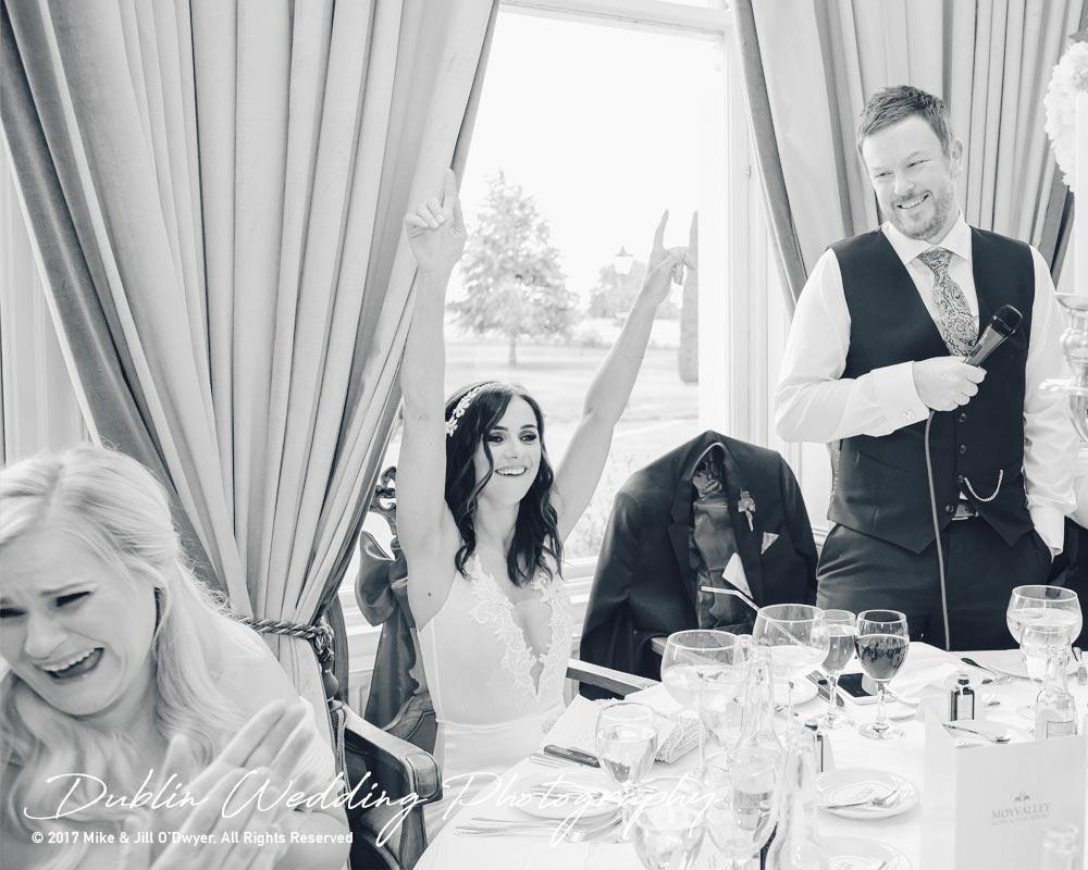 Moyvalley, Balyna House, Wedding Photographer, Kildare, Dublin, Groom's Speech Cheers