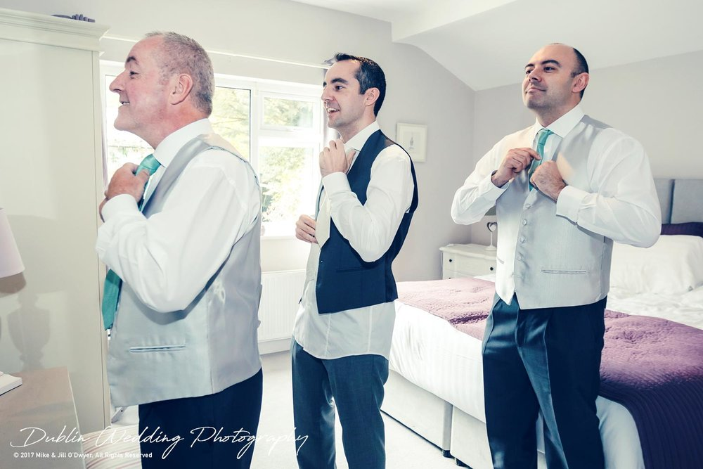 Bellingham Castle, Wedding Photographer, Louth, Dublin, Groom and Groomsmen Tying Ties