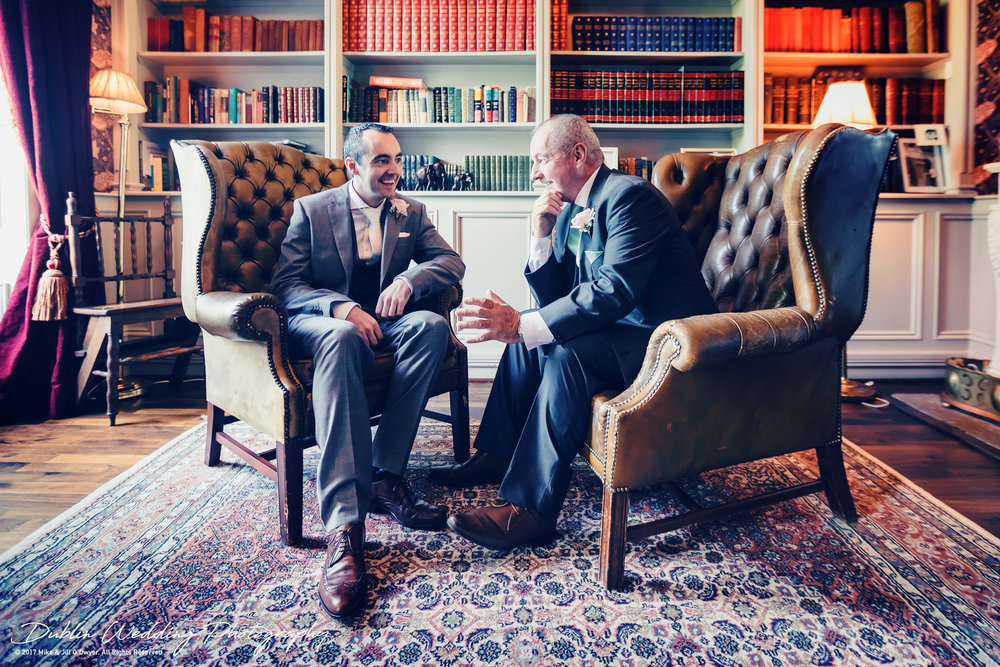 Bellingham Castle, Wedding Photographer, Louth, Dublin, Groom & Father having a word of advice