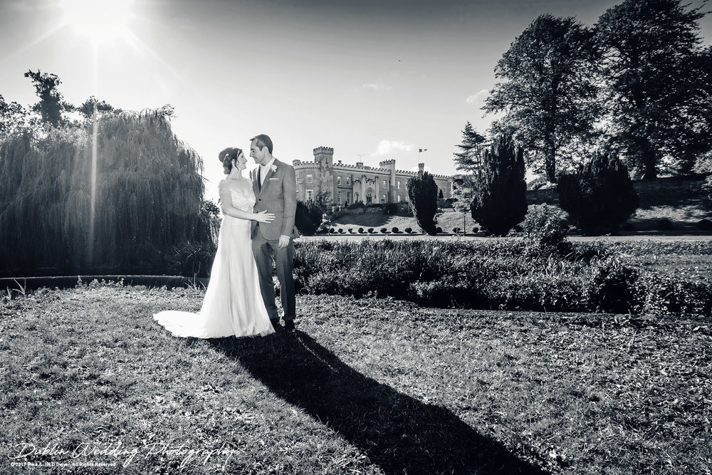 Bellingham Castle, Wedding Photographer, Louth, Dublin, Bride & Groom in Black and White