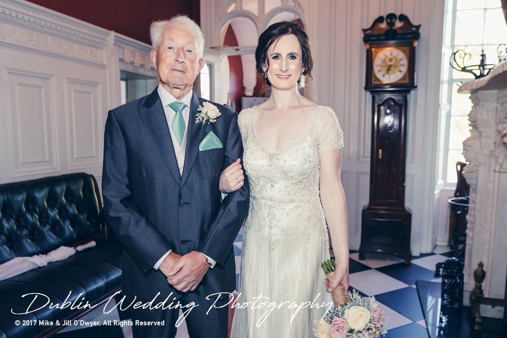 Bellingham Castle, Wedding Photographer, Louth, Dublin, Bride & Father in Hall