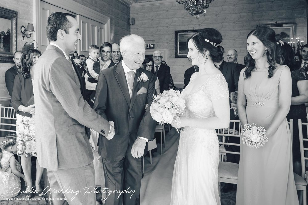 Bellingham Castle, Wedding Photographer, Louth, Dublin, Bride & Father meeting Groom