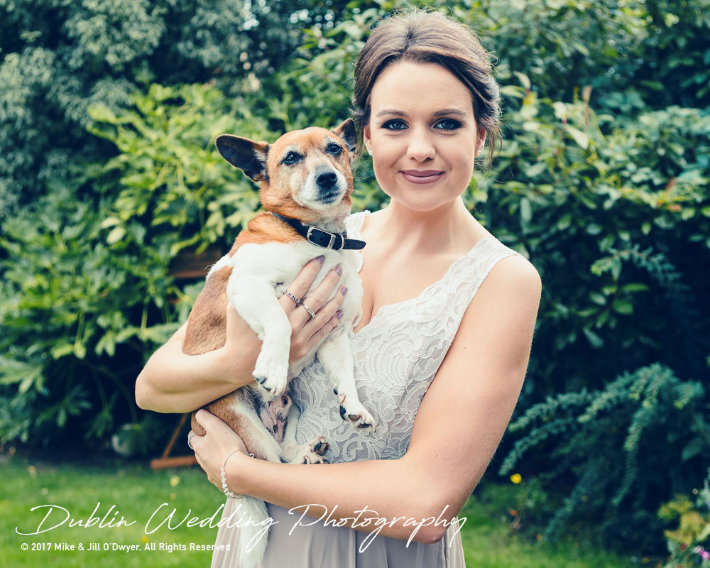 K Club, Kildare, Wedding Photographer, Dublin, Bridesmaid with pet dog