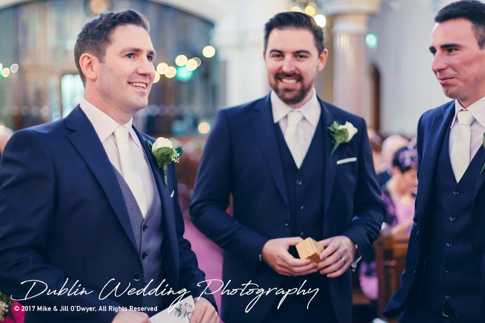 K Club, Kildare, Wedding Photographer, Dublin, Groom & Groomsmen in church waiting