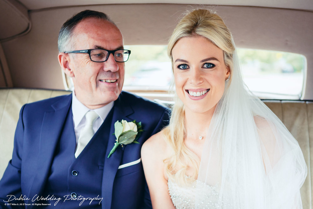 K Club, Kildare, Wedding Photographer, Dublin, Bride Leaving House with father in Car
