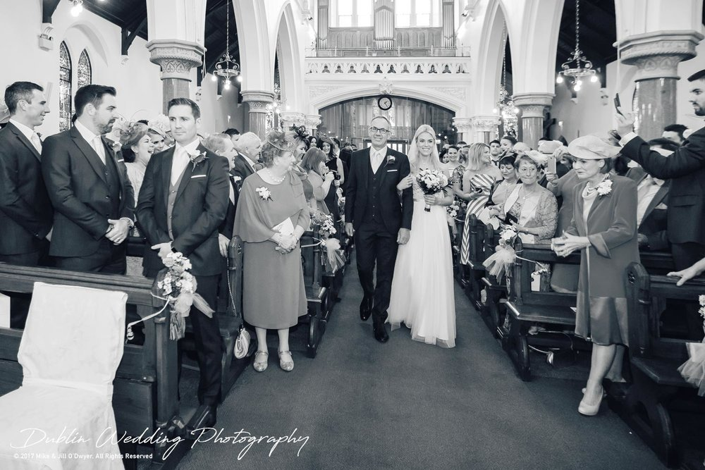 K Club, Kildare, Wedding Photographer, Dublin, Bride and Father walking to the Groom in Church