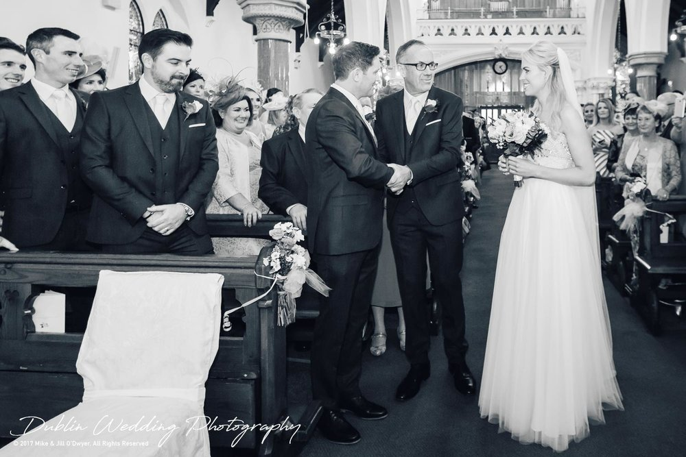 K Club, Kildare, Wedding Photographer, Dublin, Groom and Father of the Bride shake hands