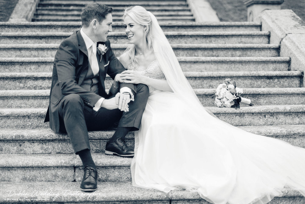K Club, Kildare, Wedding Photographer, Dublin, Bride and Groom smiling at each other on the steps