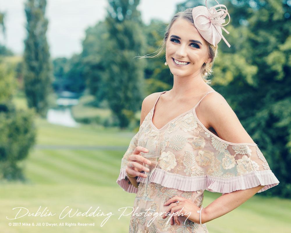 K Club, Kildare, Wedding Photographer, Dublin, Guest wearing a fabulous dress at the K Club