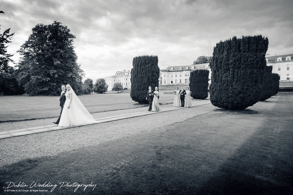 K Club, Kildare, Wedding Photographer, Dublin, Bride and Groom and Bridesmaids and Groomsmen making their way to the reception