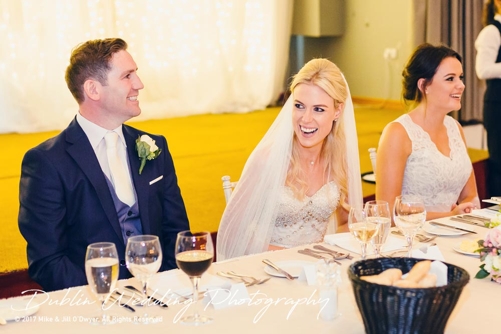 K Club, Kildare, Wedding Photographer, Dublin, Bride and Groom enjoying the speeches