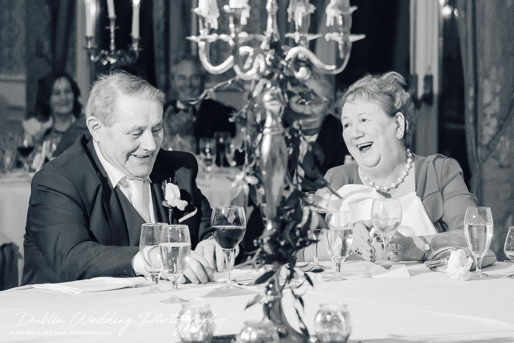 K Club, Kildare, Wedding Photographer, Dublin, Groom's parents enjoying the speeches