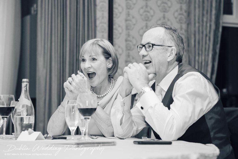 K Club, Kildare, Wedding Photographer, Dublin, Bride's parents enjoying the speeches at the evening meal