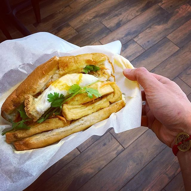 #tofu banh mi #sandwich  with a #fried #egg never looked so good. #hangoutasiangrill #houston #katytx #vietnamese #delicious #food #restaurant #yummy #familyowned